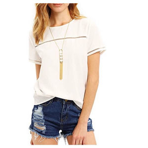ROMWE Loose Fit Short Sleeve Round Neck Top